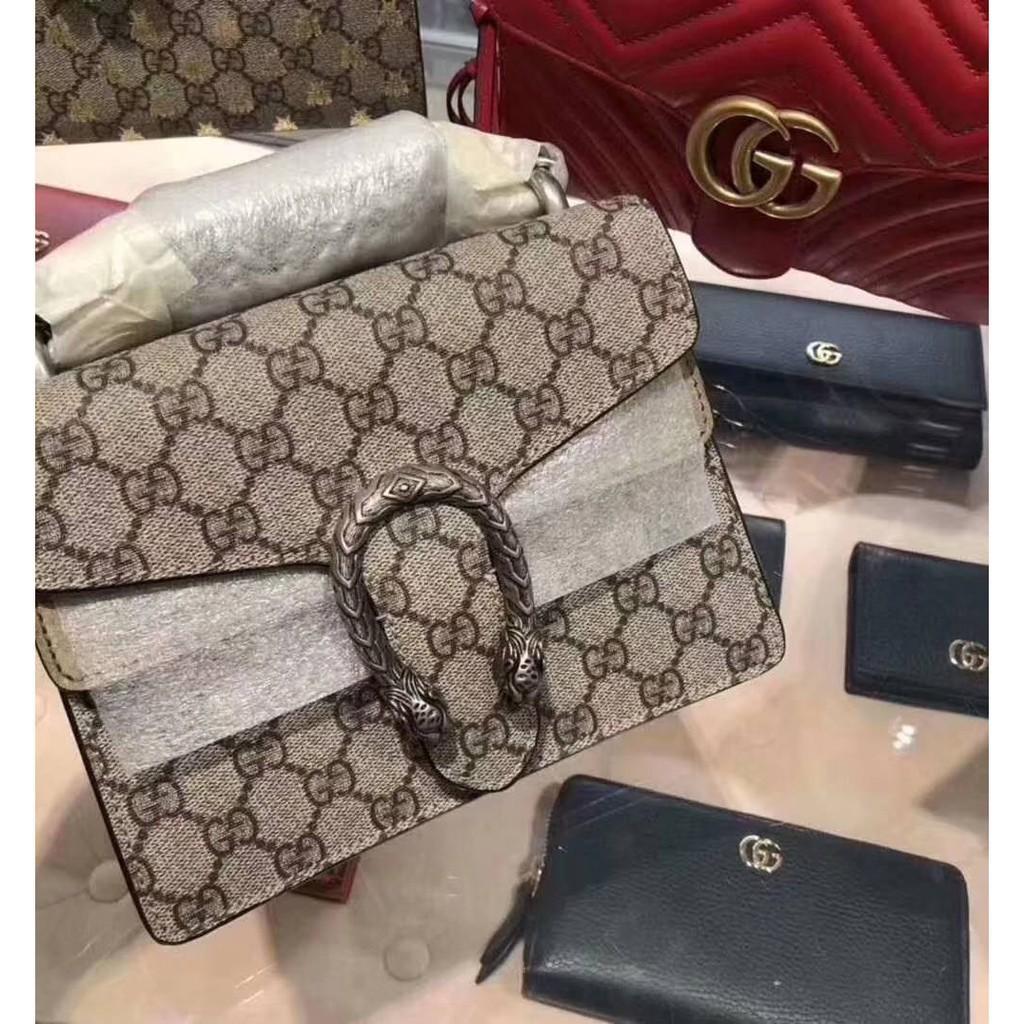 [GR]เคาน์เตอร์แท้ GUCCI Mini Dionysus GG Supreme leather shoulder bag taupe? 421970