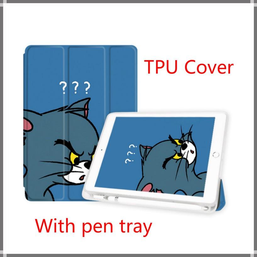 เคส (Gen7/Gen8)iPad10.2⭐With pen slot⭐ เคสฝาพับลายการ์ตูนหนูกับแมวสําหรับ Ipad Gen 7 2019 Newipad 10 . 2