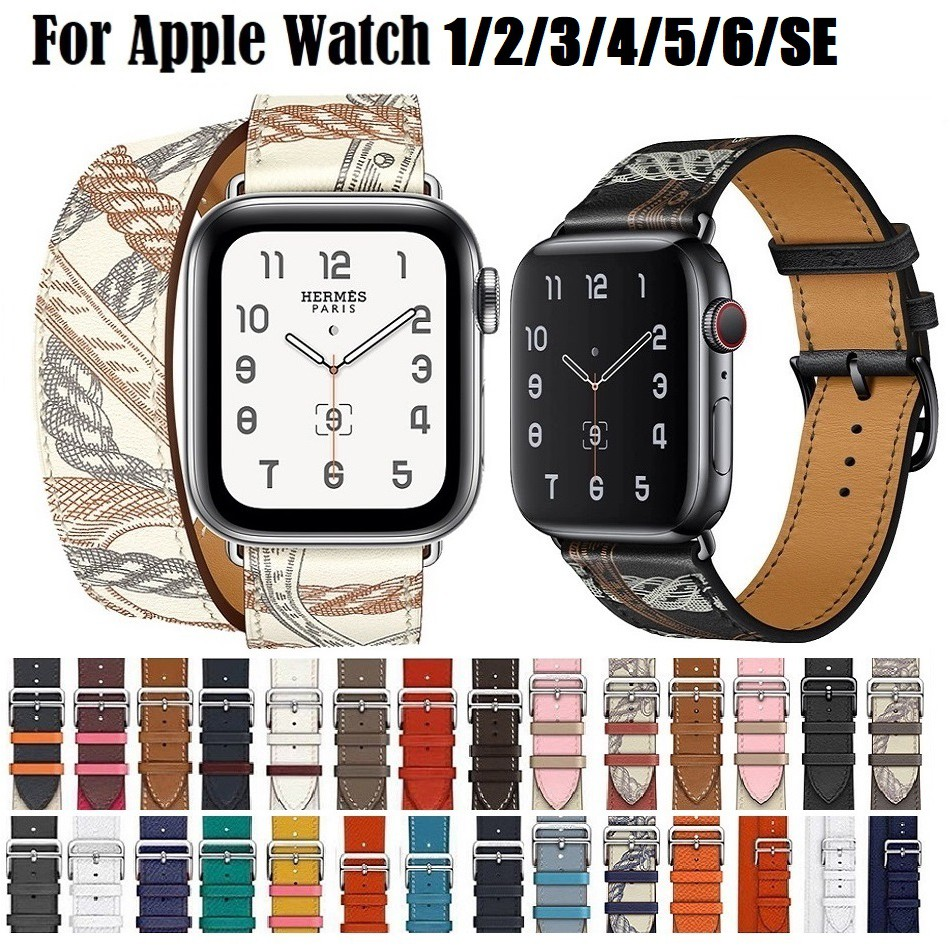 High Quality Leather Strap for Apple Watch iWatch 40mm 44mm 42mm 38mm Leather Double Band for  iWatch Series Watch band Apple Watch SE, Applewatch Series 6 5 4 3 2 1 Strap Loop Band
