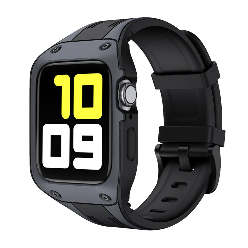 Liquid silicone strap and apple watch case, 44mm and 42mm strap, Iwatch Series 6 / 5 / 4 / SE, case