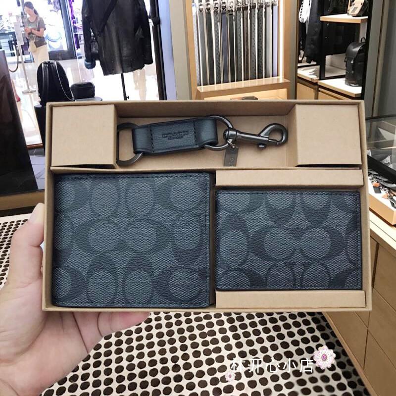 ◇✧☼Coach กระเป๋าสตางค์ใบสั้นผู้ชายมีที่ใส่บัตร กระเป๋าเหรียญ พวงกุญแจ ชุดกล่องของขวัญ F41346