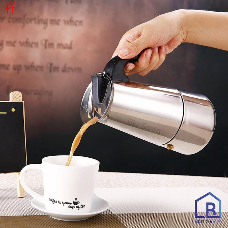 ▲۞Blu Sasta กาต้มกาแฟสดพกพาสแตนเลส ขนาด 9 ถ้วยเล็ก 450 มล. หม้อต้มกาแฟแรงดัน เครื่องทำกาแฟสด โมก้าพอท มอคค่าพอท moka p
