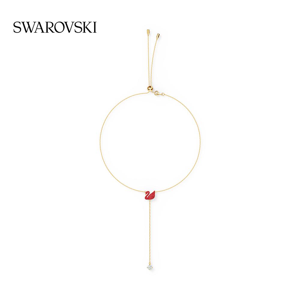 ⅝◑ระดับสูงสุดสร้อยคอSwarovski หงส์แดง Iconic Swan โซ่รูปตัว Y สร้อยคอผู้หญิงของขวัญสำหรับผู้หญิงเครื่องประดับ