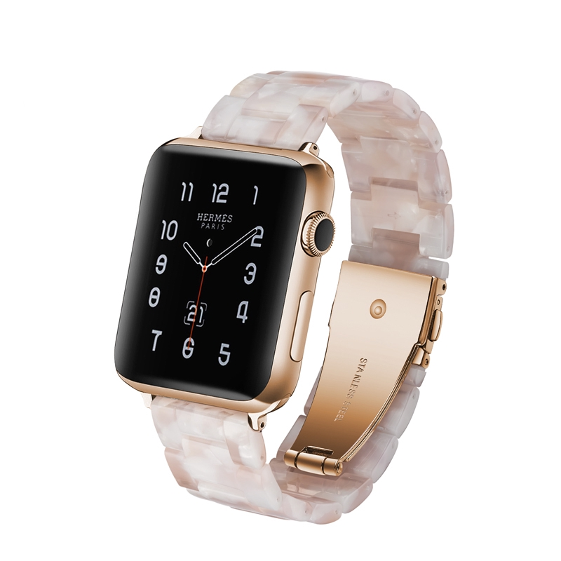 2019 New Pink Flower Band Resin Bracelet For Apple Watch Series 5 40mm 44mm I Watch 4 3 2 1 Women Strap 38 42mm Men Wristband