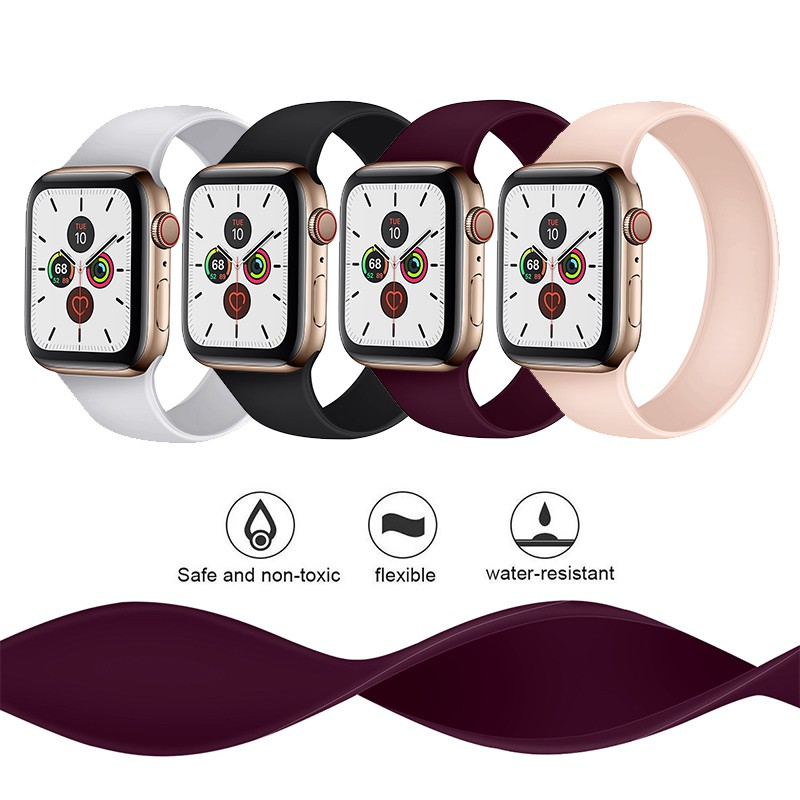 สายนาฬิกาข้อมือซิลิโคนสําหรับ Apple Watch Series 6 5 4 Se Band 38มม. 40มม. 42มม. 44มม., สายนาฬิกาข้อมือซิลิโคนสําหรับ Iwatch Series 5 4 3 2 1