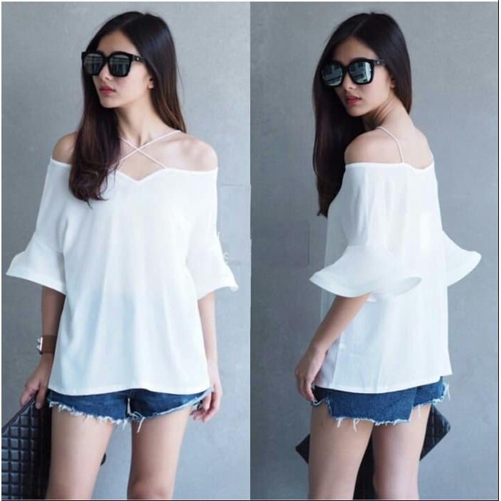 เสื้อเบลาส์ Devy blouse / Tunic / ity crepe (fifi สีขาว RO) สําหรับผู้หญิง 84KZY