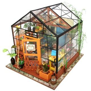 Diy Imagine 3d House Model Kit Greenhouse Miniature Led Light Dolls House Build