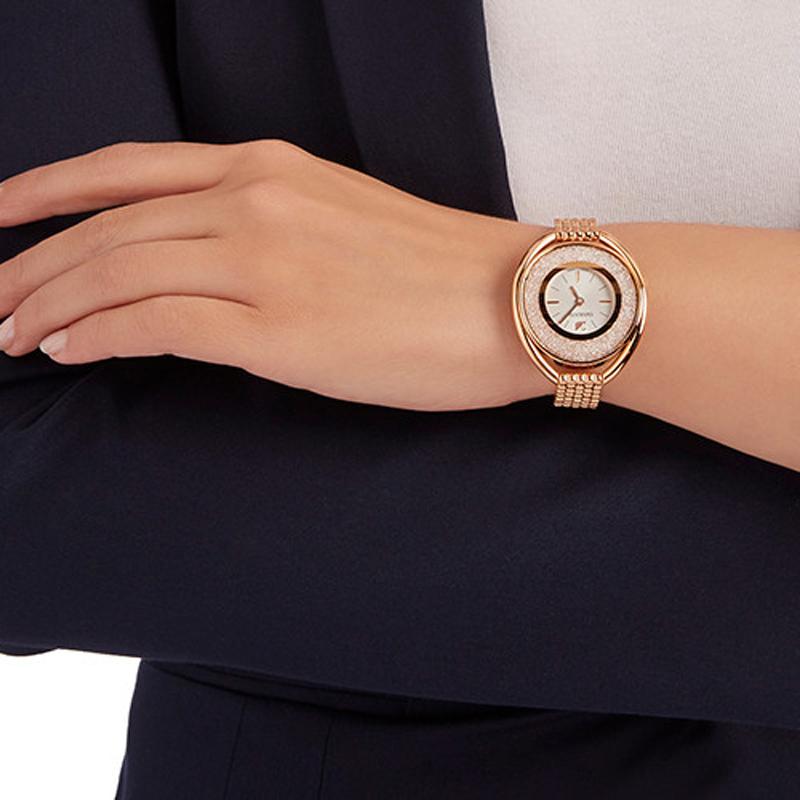 З✎สร้อยข้อมือระดับสูงสุดนาฬิกาควอตซ์นำเข้า Swarovski สร้อยข้อมือผู้หญิงโรสโกลด์สร้อยข้อมือนาฬิกาเพชรหงส์นาฬิกา5200341