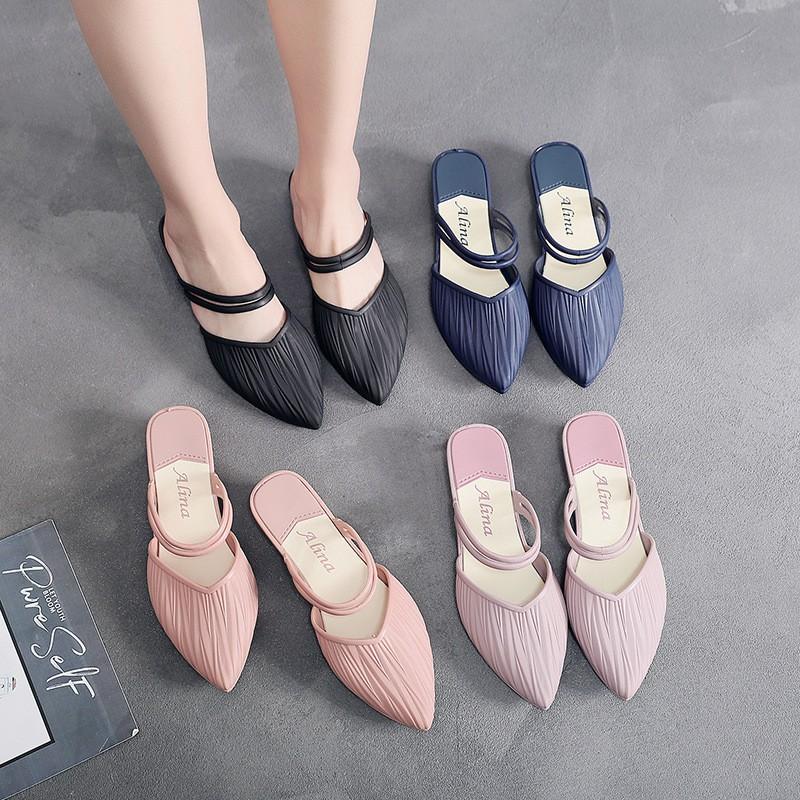 💥รองเท้าคัชชูหัวแหลม รองเท้าคัชชู ส้นเตี้ย รองเท้าส้นแบน รองเท้าผู้หญิง แฟชั่น ใส่ได้2สไตล์ ใส่สบาย