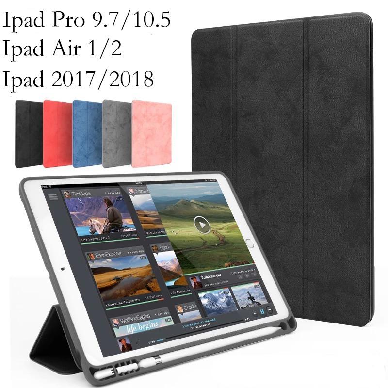"""【ส่งของขวัญ】เคส New iPad 9.7"""" ipad 2017 ipad2018 ipad air 1/2 และ iPad Pro 10.5 มีที่เก็บ Apple Pencil"""