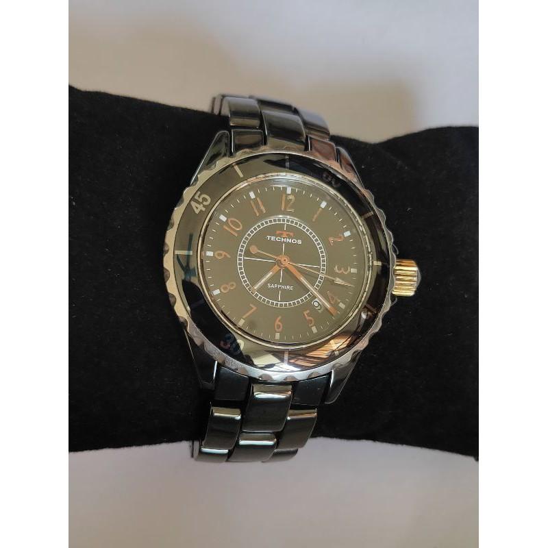 นาฬิกาแบรนด์เนมTECHNOSหน้าปัดสีดำ สายสแตนเลสสีดำของแท้มือสองสภาพสวย