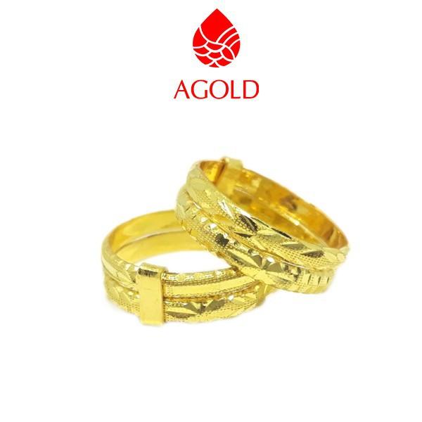 ราคาไม่แพงมาก✴AGOLD แหวนทองแท้ ลายแหวนคู่ แกะลาย หนักครึ่งสลึง ทองคำแท้ 96.5
