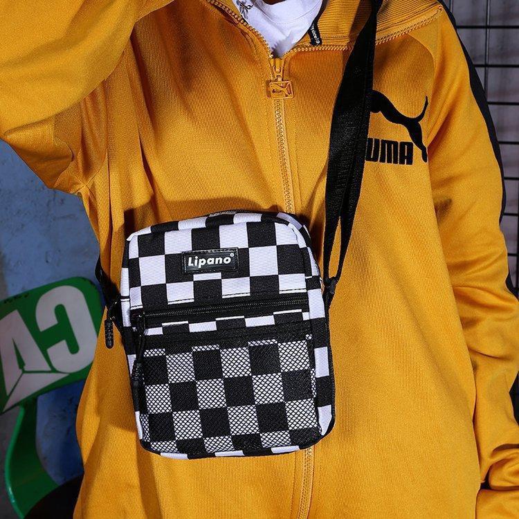 Mhmall กระเป๋าสะพายข้างลายสก็อตสีดำและสีขาว anello กระเป๋าสะพายข้าง coach พอ กระเป๋า sanrio gucci marmont gucci dionysus