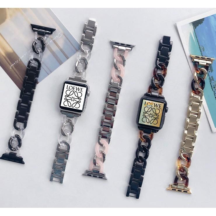 ใหม่ แฟชั่น สาย Apple watch มีทุกขนาด ทุก Series สายหนัง stainless steel resin Band, ขนาด 38มม 40มม 42มม 44 มม Series6, Series5, Series4 3 2 1 , Apple Watch SE พร้อมส่ง สายนาฬิกา Replacement Apple Watch Strap