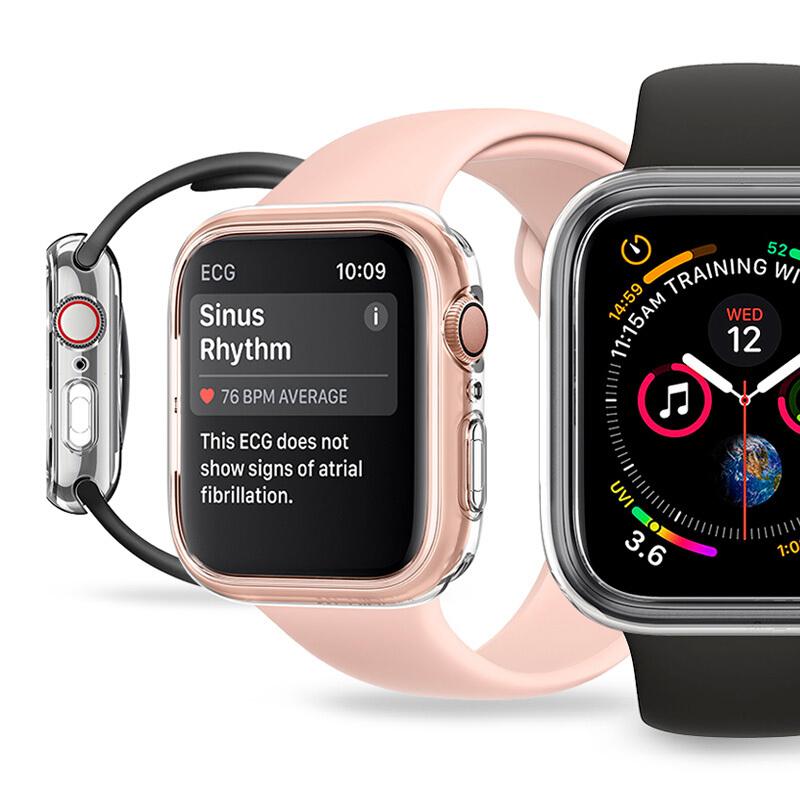 ヾィ # สำหรับiwatch6 Apple Watch Case SEป้องกันรอยขีดข่วนนิ่มapplewatch5แบบบูรณาการเกราะป้องกัน3/4นิ้วรุ่น44mmซิลิโคนใสApp