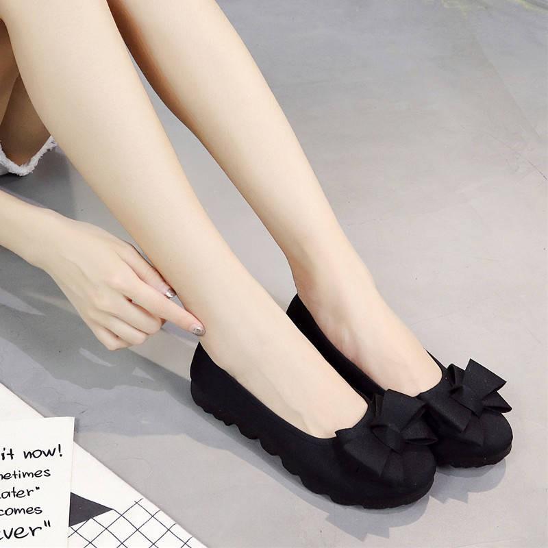 รองเท้าผู้หญิง รองเท้าคัชชู ร้องเท้า ✪ใหม่ของแท้เก่าปักกิ่งรองเท้ารองเท้าของผู้หญิงรองเท้ารองเท้าเดียวสีดำรองเท้าทำงาน P