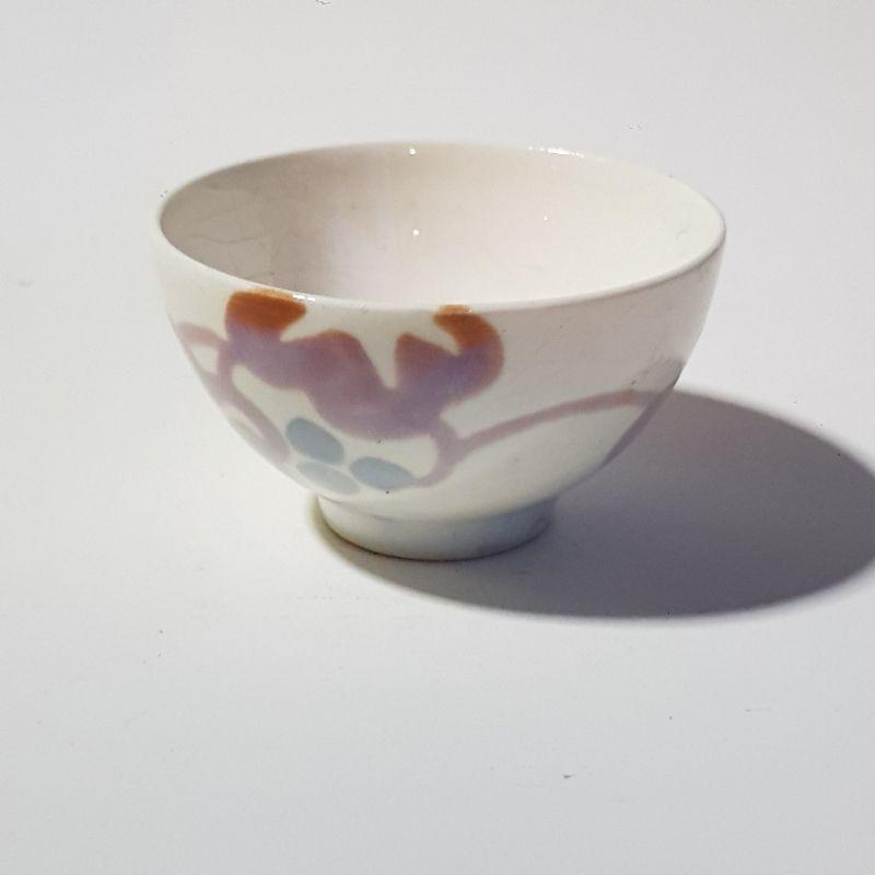 มือสอง กระถางแคคตัส ชามเซรามิกส์ นำเข้าจากญี่ปุ่น กลม สีขาวมีลวดลาย กว้าง  7.5 cm ลึก 4.5 cm กระถางไม้โขด ไม้อวบน้ำ