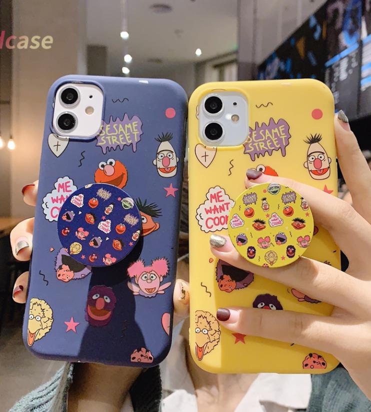 Sesame Street soft case + POP SOCKET Samsung J6 2018 J6Plus/J6+ J4 2018 J4Plus/J4+ J8 2018  J2PRO 2018 J7Plus J7Pro/J7 2017 J5Pro/J5 2017 J3Pro/J3 2017 J7Prime J5prime J2prime J710/J7 2016 J510/J5 2016 Note8 Note9 Note10 NOTE10Plus A51