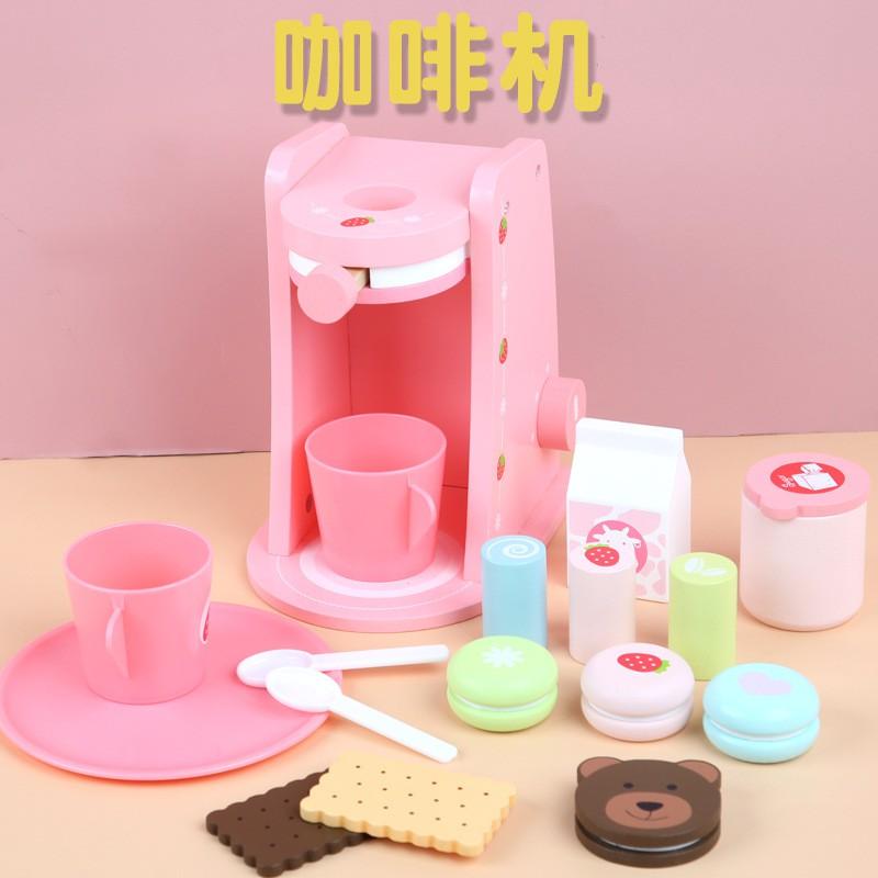 พร้อมส่ง เครื่องทำกาแฟ ของเล่นไม้เด็ก พร้อมขนม zQsl