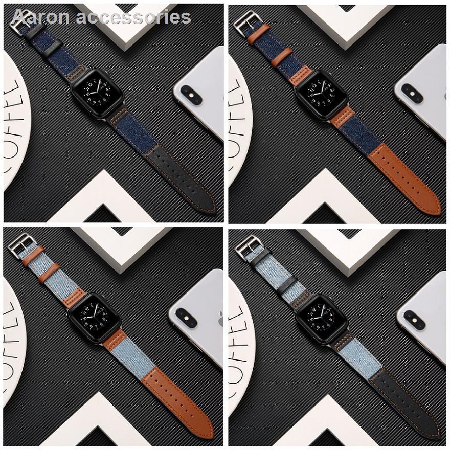 ๑﹊สาย applewatch สายนาฬิกา applewatch สายนาฬิกา Apple Watch Strap Leather+Denim สาย Applewatch Series 6 5 4 3 2 1,  Appl