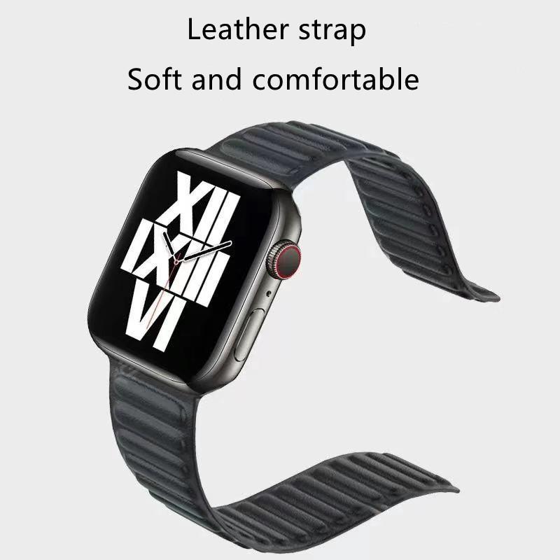 สายนาฬิกา Apple Watch Iwatch Series 1/2/3/4/5/6, Apple Watch SE Leather Magnetic Watch band iwatch 38mm 40mm 42mm 44mm Watch band bracelet loop
