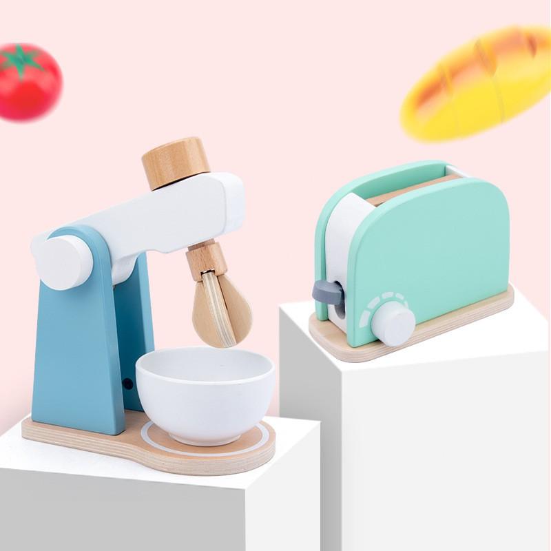 เครื่องทำขนมปังจำลองอาหารสำหรับเด็กและชุดเครื่องครัวบ้านเด็กเล่นอายุ 3-6 ปีเครื่องชงกาแฟไม้ของเล่นในครัวของเด็กผู้ห