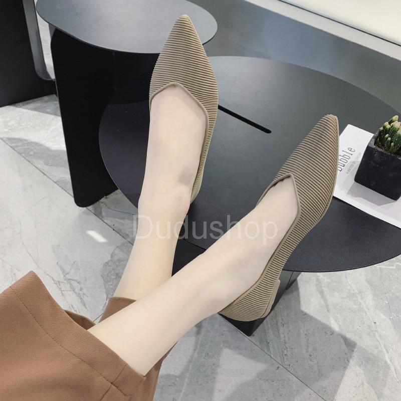 รองเท้าคัชชู หัวแหลม รองเท้าทำงาน รองเท้าผู้หญิง รองเท้าคัชชูหัวเหลี่ยมลายเส้น รองเท้าแฟชั่น ไม่เจ็บเท้า❤️