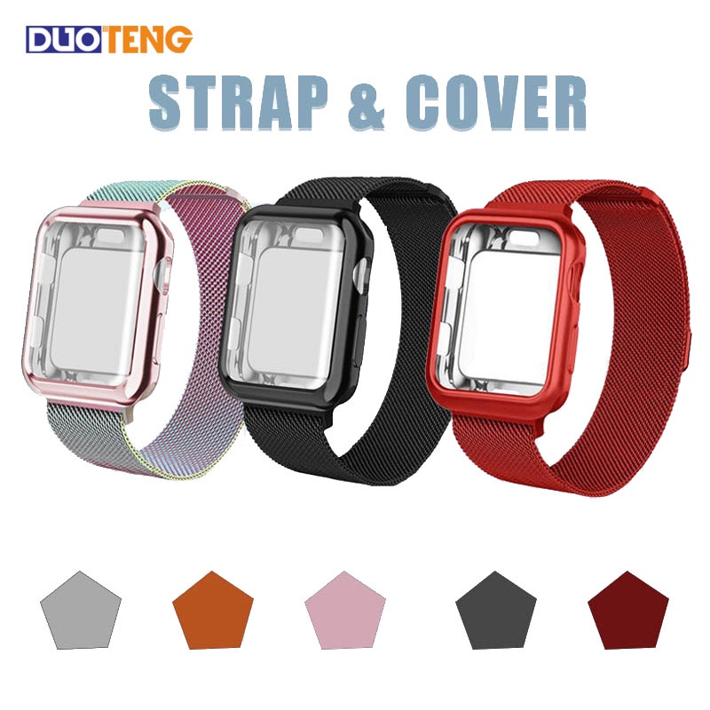 Duoteng Apple Watch Strap Cover a Set SE 6 5 4 3 2 1  Stainless Steel Bracelet for iwatch band Case 40mm 44mm 42mm 38mm Metal Loop Milanese Replacement watchband Protector Cover