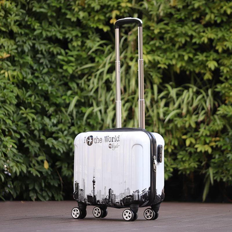 ⅗✡ กระเป๋าเดินทางล้อลาก กระเป๋าเดินทางล้อลากใบเล็กรณีรถเข็น[การชดเชยกระเป๋าเดินทาง] กระเป๋าเล็กน่ารักความเสียหาย18นิ้วเด