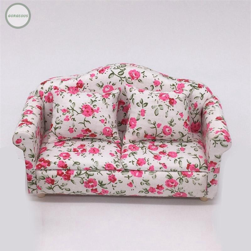 Dollhouse1//12 Scale Miniature Furniture Light colored Cloth Lovely sofa /& Pillow