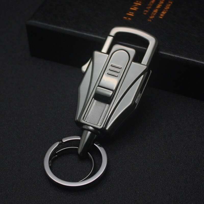 Honest Car Key Chain Creative Cigarette Lighter Multifunction Tool Men Key Chain Ring Holder Fathers Day Gift High Grade