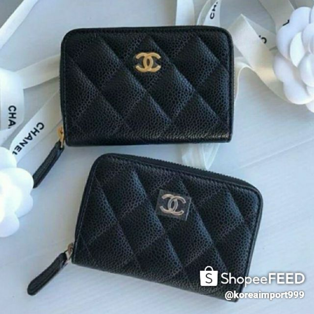 Chanel Black Petrol Caviar Zippy Purse Card Holder Wallet