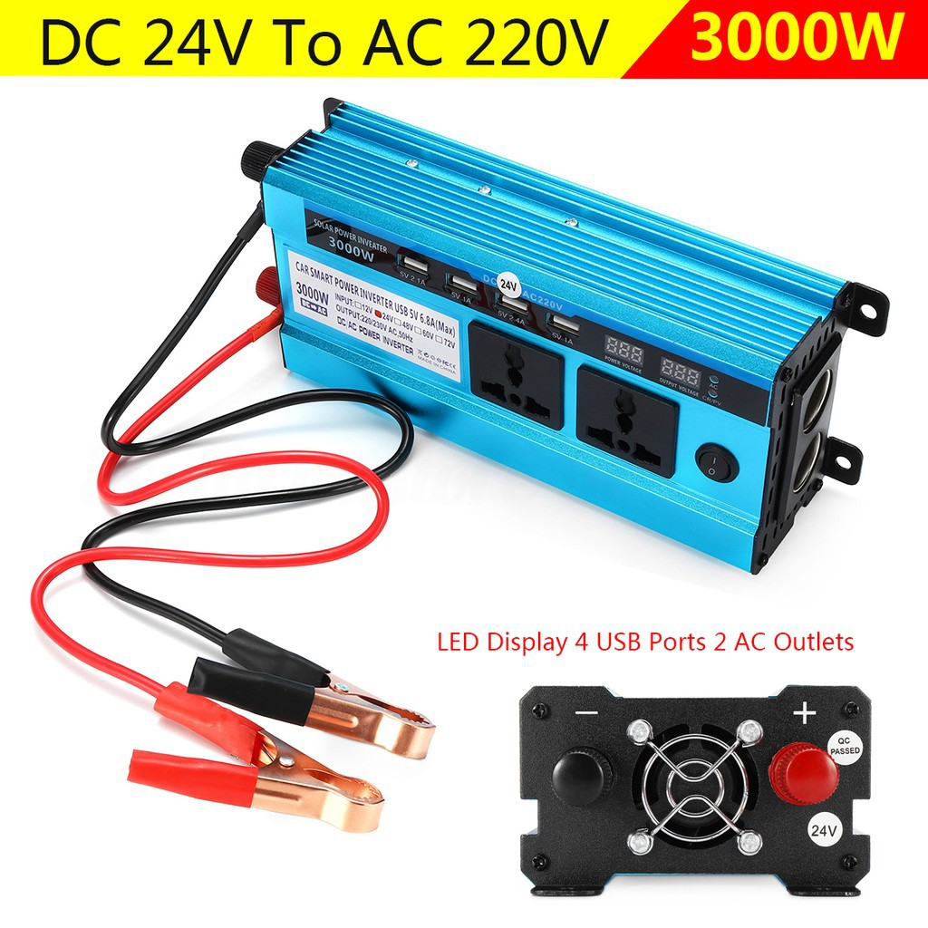 2000W Car Solar Power Inverter Sine Wave DC 24V to AC 220V Modified Sine Wave Converter with Four USB Interface