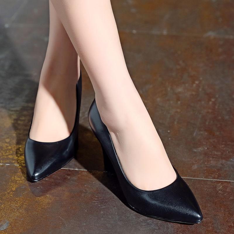 รองเท้าคัชชูส้นสูงหนังวัวปากตื้นรองเท้าส้นสูงรองเท้าทำงานสีดำรองเท้าผู้หญิงสวย ๆ สไตล์ยุโรป [โพสต์เมื่อ 13 พ.ค. ]