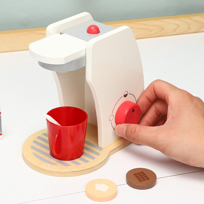 เด็กเล่นบ้านจำลองเครื่องทำขนมปังไม้เครื่องชงกาแฟรวมน้ำชายามบ่ายตัดเพลงของเล่นมือ 2-6 ขวบ