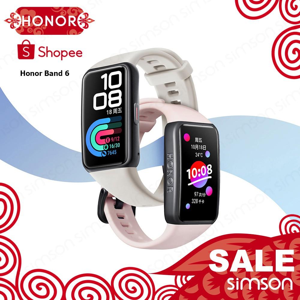 ( New ) Huawei Honor Band 6 สายรัดข้อมืออัจฉริยะวัดอัตราการเต้นของหัวใจ 1 . 47 นิ้ว