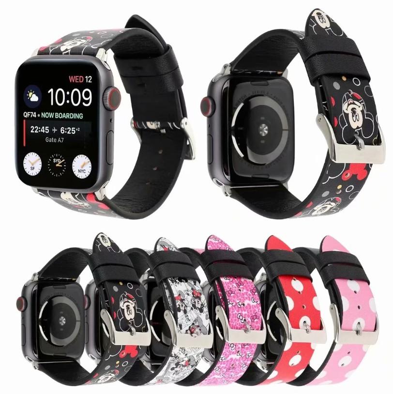 【16 แบบ】โดนัลด์ดั๊ก Apple Watch strap สายหนัง iWatch Series SE 6 5 4 3 2 1สาย applewatch 38 40 42 44mm