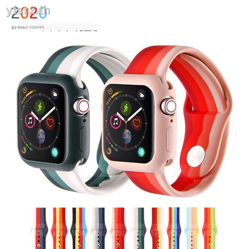 นาฬิกาข้อมือ Apple Watch SeriesCase Apple Watchเคส Apple Watch CaseApple watch rainbow silicone band + frosted shell iwatch4/5 protective case strap 123
