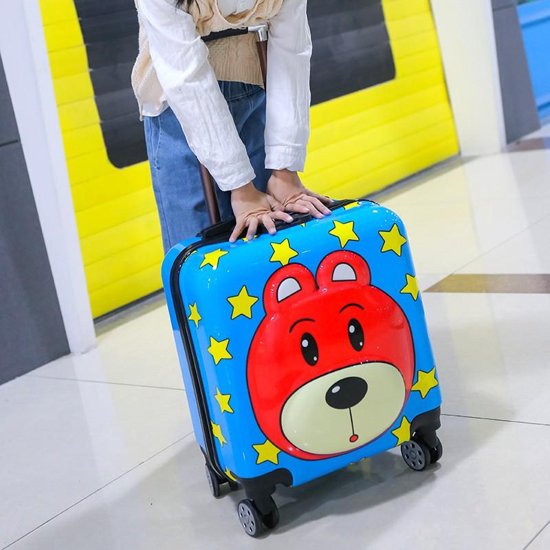 กระเป๋าเดินทางเด็กการ์ตูนสามมิติ 3 มิติ 18 นิ้วชายและหญิงเด็กรถเข็นล้อสากลกระเป๋าเดินทางกระเป๋าเด็ก 20 นิ้ว