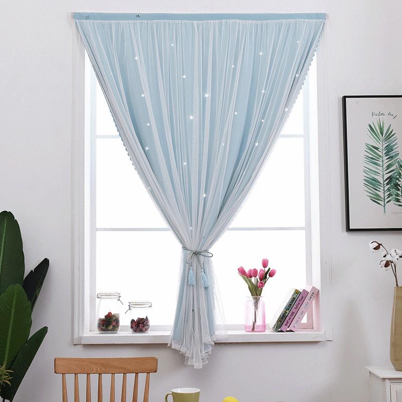【เตรียมการจัดส่ง】☽ผ้าม่านสีแดงสุทธิสินค้าสำเร็จรูปโดยไม่ต้องเจาะและติดตั้ง Velcro Paste บังแดดหน้าต่างห้องนอนหน้าจอเบ