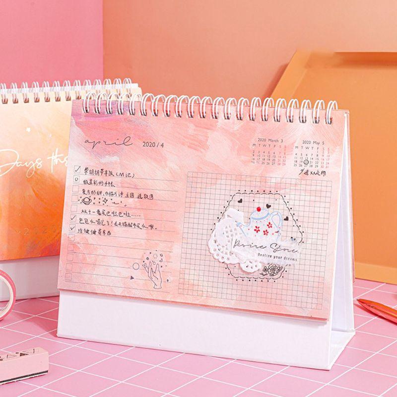 Desktop Standing Paper 2020 Dual Coil Calendar Memo Daily Schedule Table Planner