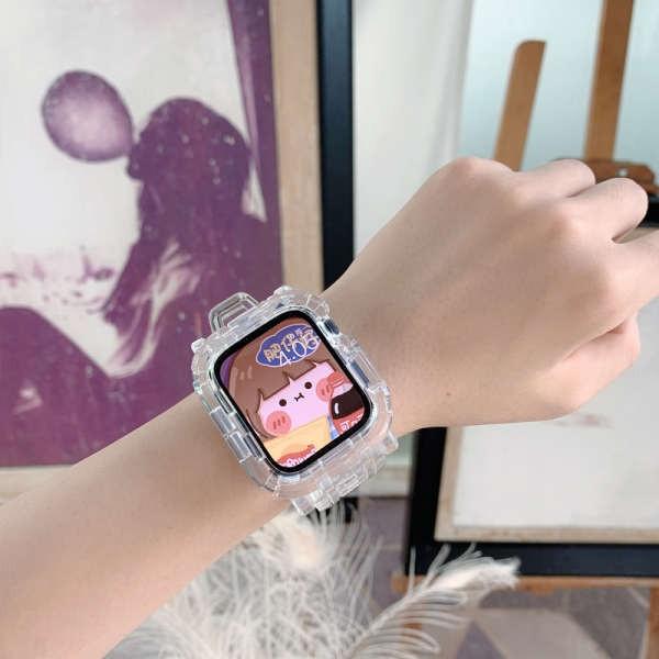 ✩สร้างสรรค์ iwatch สายธารน้ำแข็ง จำกัด โปร่งใส 6SE แอปเปิ้ลนาฬิกาสาย applewatch 5/6 รุ่น 3/4/2 แฟชั่นแบรนด์น่ารักสร้างสร