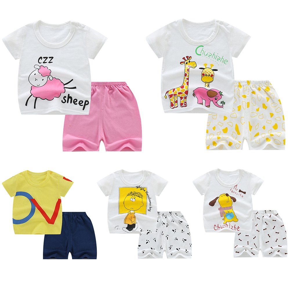 US Stock Baby Girls Kids Clothes Short Sleeves T-Shirt Pants 2Pcs Outfits Sets