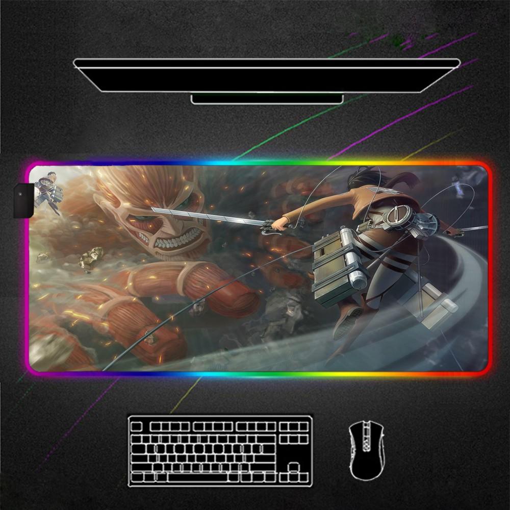แผ่นรองเมาส์แบตเตอรี่ลิเธียม  Attack on Titan Gaming Mousad Game Mat Gamer Accessories Keyboard Anime ad for Mouse Mat w