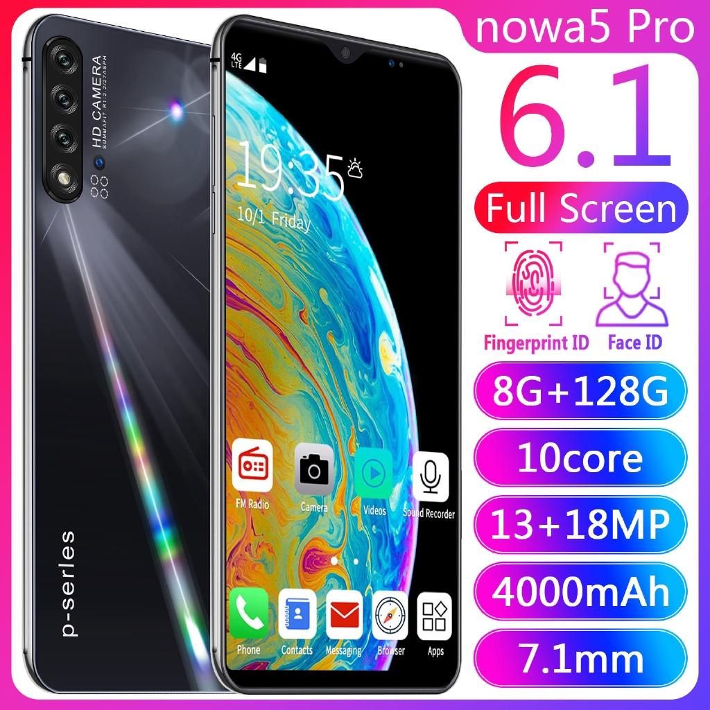 6.1- นิ้วโทรศัพท์ปลดล็อก Android Nowa5 สมาร์ทโฟน 8GB + 128GB 2 SIM 4G / Wifi Facebook YouTube