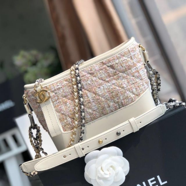 Chanel Gabrielle hobo Tweed small bag White