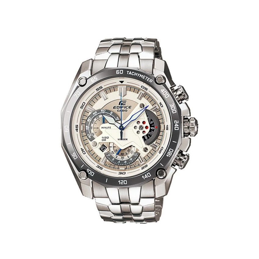 Casio นาฬิกาข้อมือ Edifice Chronograph สายสแตนเลส รุ่น EF-550D-7A - Silver/White