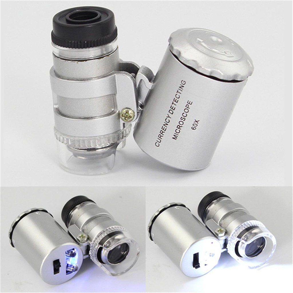60X Zoom LED Microscope Micro Lens New Silver