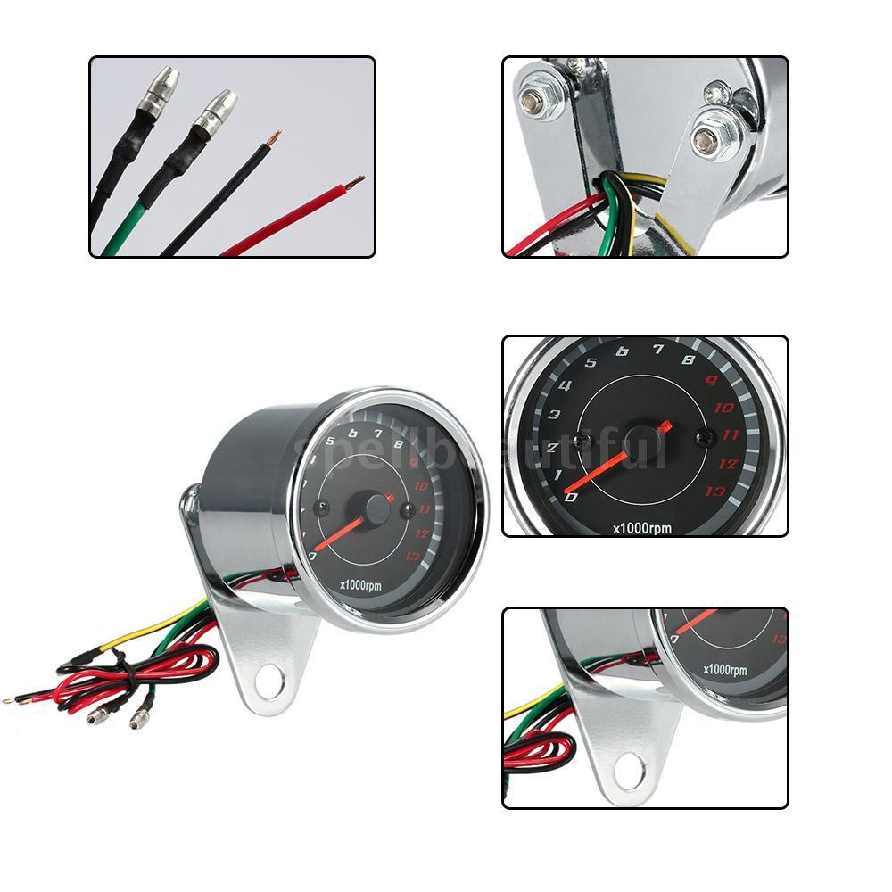 12V Universal Motorcycle Tachometer Meter LED Backlight 13K RPM Shift