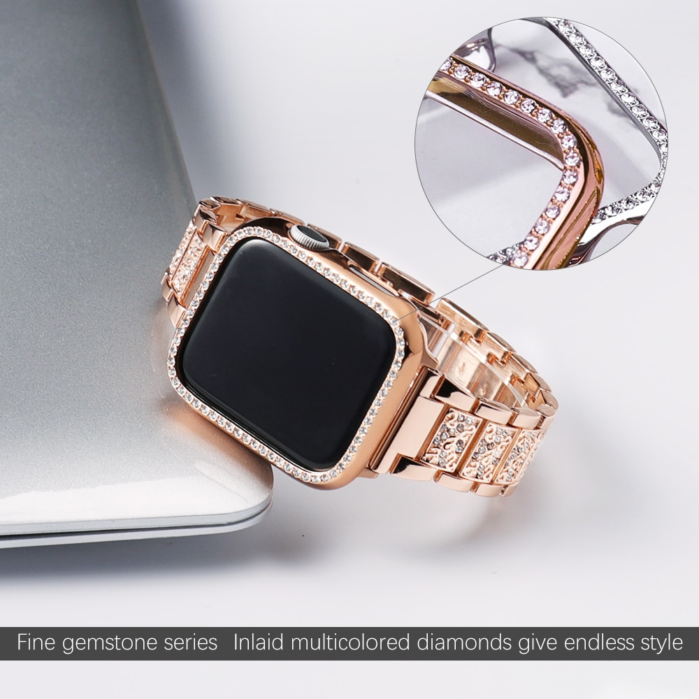 Band + Case Women Metal Strap For Apple Watch  Series 5 4 3 2 1 Strap 40mm 44mm Diamond Ring Stainless Steel  iwatch 4/3/2/1 Bracelet
